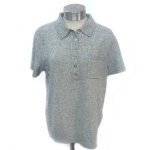 BANANA REPUBLIC Gray Filpucci Wool Polo Shirt L